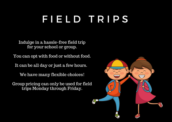 Field Trips at Makutus Island Indulge in a hassle-free field trip for your school or group. You can opt with food or without food. It can be all day or just a few hours. We have many flexible choices! Group pricing can only be used for field trips Monday through Friday